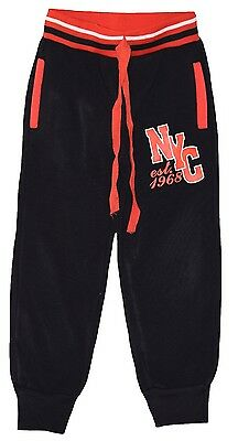 "Boy Girl Black/red Fleece Lined ""nyc"" Joggers Joging Pants Trousers 5-6 Yrs"