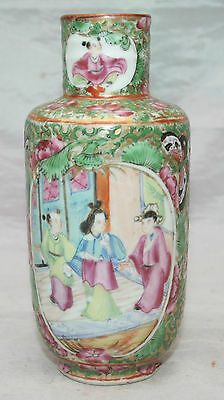 Antique Chinese Canton Famille Rose Brush Pot Vase