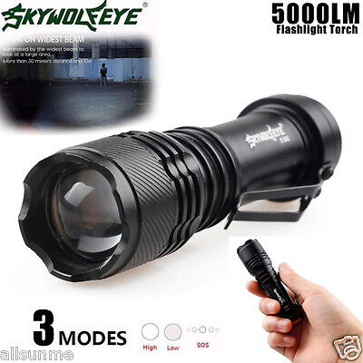 New Super Bright 5000LM Q5 AA/14500 LED 3 Modes Strap Zoom Flashlight Torch
