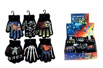 Boys Patterned Fun Magic Gripper School Football Cycling Gloves One Size