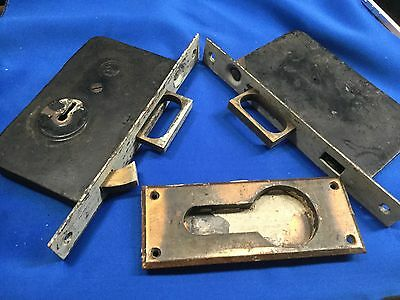 Vintage SET of RHC Pocket Door Mortise Lock Push Button Handle and Lock BRASS