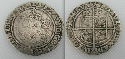 Collectable Hammered Silver Elizabeth I Sixpence - Tun Mint Mark - 1593