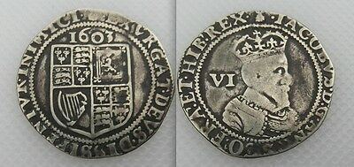 Collectable 1603 Hammered Silver Sixpence Coin King James I / VI - First Bust