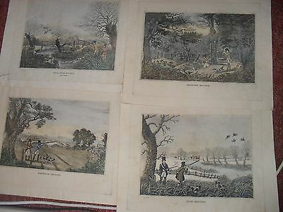 Four Prints Pheasant Shooting, Wild Duck Shooting at Cowlley, Partridge, Snipe s