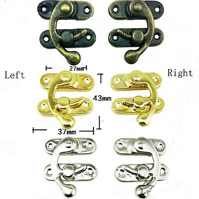Lots 30-100pcs Metal Fitting Hook Lock Hasp Buckle Latch Claps For Box 37*43MM