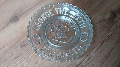 Vintage 1930s Clear Pressed Glass George VI Coronation Commemorative Dish VGC
