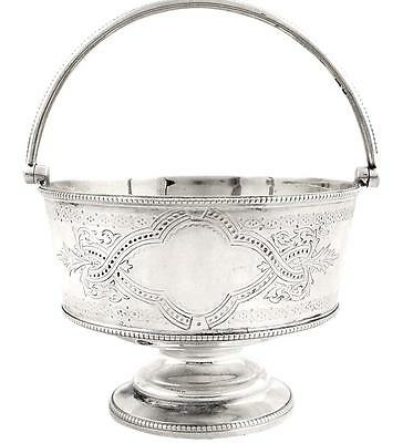 ANTIQUE VICTORIAN STERLING SILVER BASKET/BOWL with SWING HANDLE - 1871