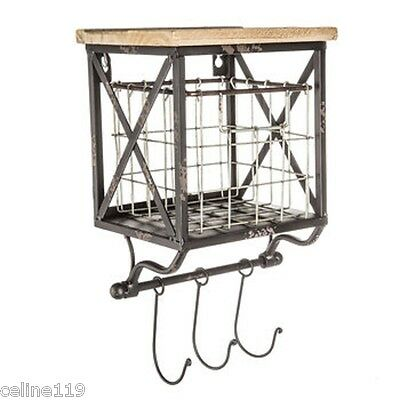 Wood Shelf with Wire Basket 2 in 1 WITH 3 HOOKS.Shabby Chic decor.Cabin Home NEW