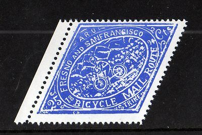Fresno And San Francisco Bicycle Mail Local Stamp,modern Reprint,cycling,nhm