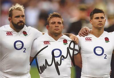 ENGLAND RUGBY UNION: TOM YOUNGS SIGNED 6x4 ACTION PHOTO+COA