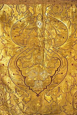 19Thc Antique Russian Gold Metallc And Tinsel Embroidered Panel