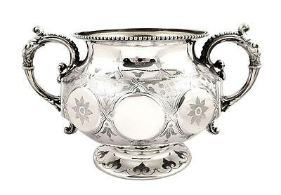 Chunky Antique Victorian Sterling Silver 2 Handle Bowl - 1858