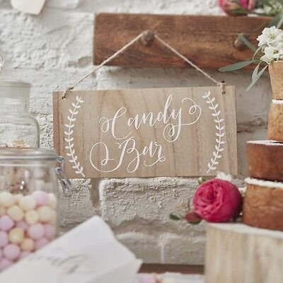 Candy Bar Rustic Wooden Sign, Wedding / Party Sweet Bar Decoration - Boho Range