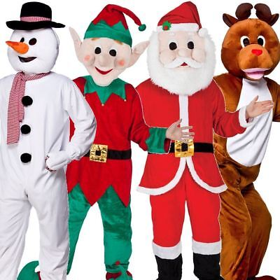 New Adult Christmas Xmas Snowman Santa Reindeer Elf Fancy Dress Mascot Costume