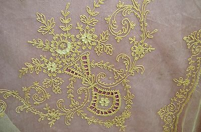 Beautiful Vintage Antique Tambour Embroidered Netlace Double Bedspread Ss223