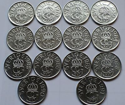 Complete Set of 14 Sweden 5 kronor coins dated from 1977 - 1991