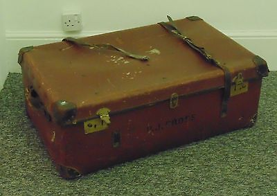 Original Vintage Leather Trunk Belted Storage Toy Box Suitcase Coffee Table Tan