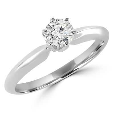 .33 Ct Si1 G Round Diamond Solitaire Engagement Ring 10K White Gold