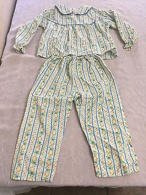 Vintage 1980s Girls White Floral Collared Flannel Pajamas Pants Top - 4 #48