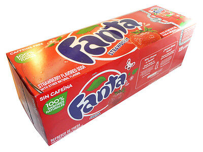Original Pack of 12 Fanta Strawberry 355ml Cans Flavor American Soft Fizzy Drink