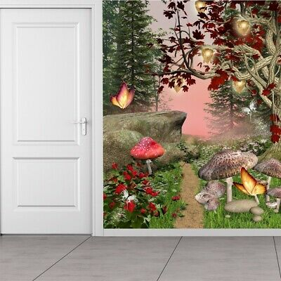 Enchanted Forest Wall Mural Red Butterfly Trees Photo Wallpaper Girls Home Decor
