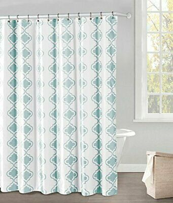 White And Blue Fabric Shower Curtain Moroccan Tile Design