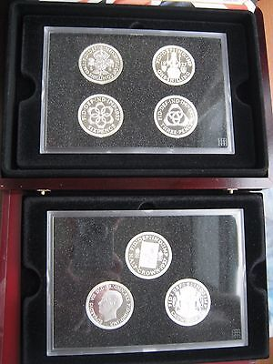 UK Edward VIII 1936 Pattern Silver-plated Medal Collection 7 Crown Set COA Box