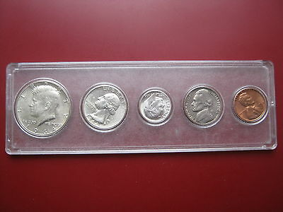USA 1964 5 coin set 3 silver coins Kennedy Half Dollar in plastic case