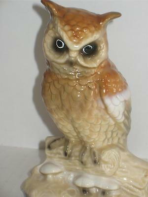 "Vintage Owl on Branch Figurine Japan Blue Sticker 6"" tall"