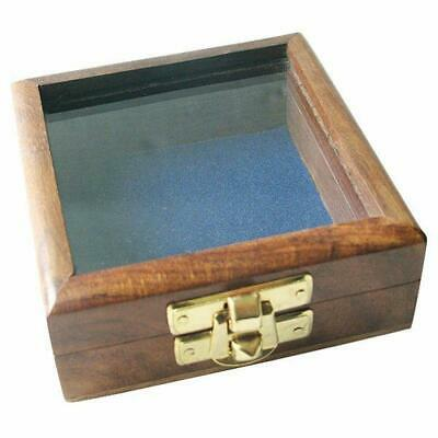 G4528: Kompass Box Maritime Holzbox mit Messing Schließe, Box mit Glasdeckel