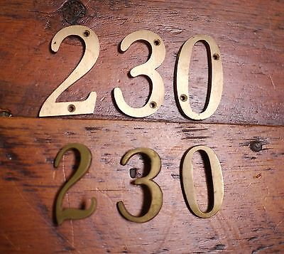 Lot of 6 Vintage Mid Century Solid Brass Small & Large House Numbers 2 3 0