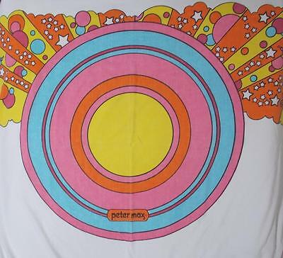 Peter Max Full Flat Sheet Vintage Pop Art Psychedelic Circle Faces Stars