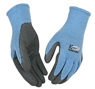 Cold-Weather Work Gloves, Latex-Coated Blue Knit, Women's Small