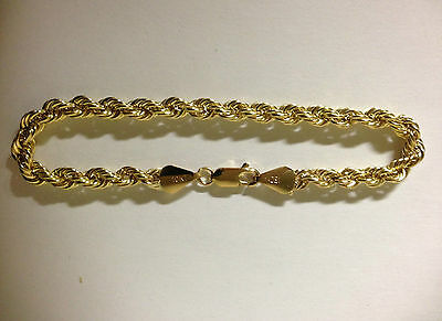 Mens Womens 10k Yellow Gold Bracelet Hollow Rope Chain 2.5mm - 8 mm 7 8 9 inch