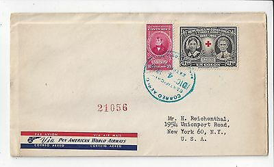 Costa Rica 1946 Airmail Registered Cover to US, 1 Colon Red Cross