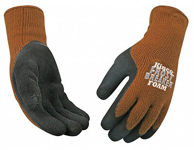 Frost Breaker Work Gloves, Thermal, Latex Palm, Brown Knit, Large