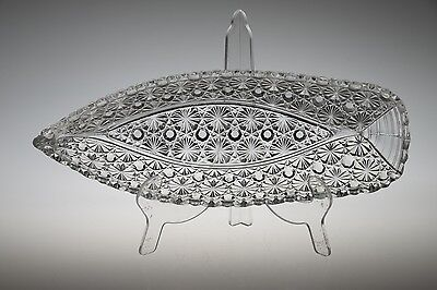 """c. 1884 No. 101 Daisy & Button by Hobbs CRYSTAL 9.75"""" L Yacht Pickle Dish"""