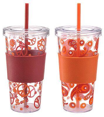 Iced Beverage Cup, Single-Wall Plastic, Red Sleeve, 24-oz., 2-Pk.