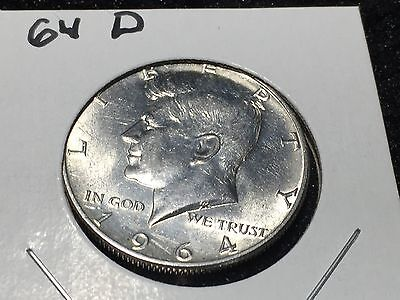 1964-D SILVER 50C Kennedy Half Dollar -  Circulated & well kept ! Free Shipping