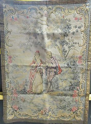 Antique FRENCH Tapestry Courting Couple in Bucolic Setting Metallic Thread Trim