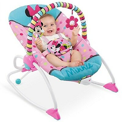 PINK VIBRATING INFANT SEAT TODDLER ROCKING CHAIR Disney Minnie Mouse Play Nap