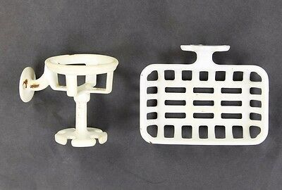 Vintage Cast Iron Enamel Soap Dish and Cup Toothbrush Holder Bathroom Wall Mount