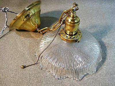 Pendant Chandelier Antique 1907-10 Bryant Pull Socket Uno Keeper Jefferson Shade
