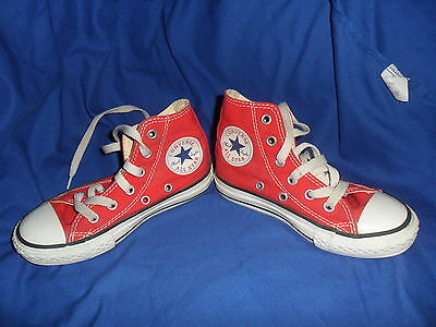 Converse All Star Uk Childrens Size 10 Red Trainers Hi Tops Canvas