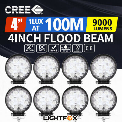 8X 27W Round LED Work Light Flood Reverse Lamp 4WD Offroad Truck Ute 4x4