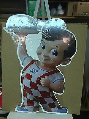 "Big Boy Fast Food Restaurant Boy Holds Up Burger 24"" Tall Metal Advertising Sign"