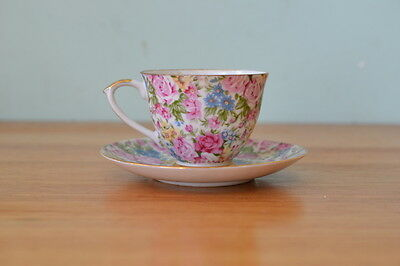 Vintage  duo tea cup & saucer  flowers fine china