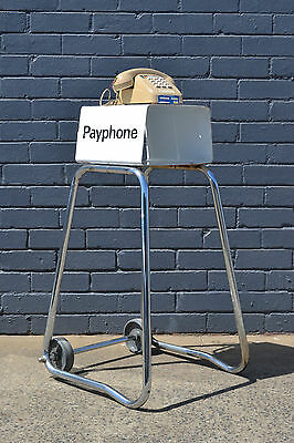 Vintage  payphone stand industrial telephone table display retro funky