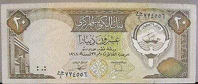 1968 Kuwait, Central Bank of, 20 Dinars, Better Note !   ** FREE U.S SHIPPING **