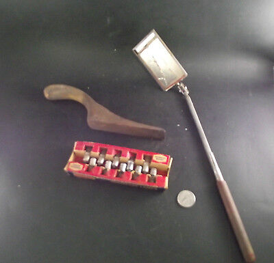 Antique Auto Wooden Body Tool Proto Mirror  Handle As Is  And Everready Lamps